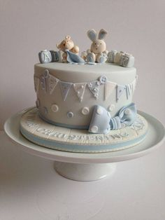 Idee Baby Shower, Baby Shower Cakes For Boys, Baby Boy Cakes, Fancy Cakes, Cute Cakes, Christening Cake Boy, Baby Birthday Cakes, Fondant Baby, Amazing Wedding Cakes