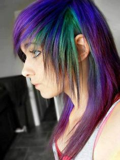 emo girl blue, purple, and green hair