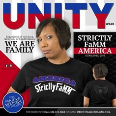 Black/White/Blue/touch of Red Strictly FaMM America shirt design edition