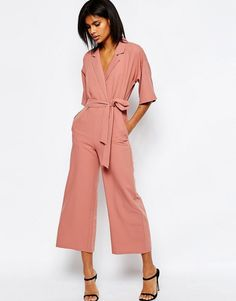 Gorgeous pink/peach jumpsuit with cropped wide legs....great with flatties or heels