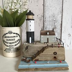 """415 Likes, 2 Comments - Shabby Daisies (@lorainespick) on Instagram: """"Keepers cottage Used cork on the lighthouse,and the base is storm damaged beach huts wood.…"""""""