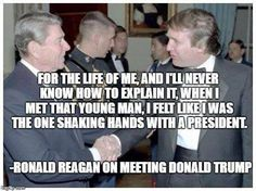 A photograph of President Reagan shaking hands with Donald Trump is real, but a quote frequently associated with it is not. Trump Is My President, President Ronald Reagan, Donald Trump, God Bless America, The Life, Have Time, Presidents, Sayings