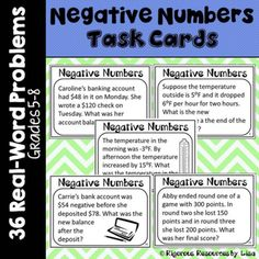 Negative Number Word Problem Task Cards - Real Word Problems! Math 5, Teaching Math, Teaching Ideas, Elementary Math, Upper Elementary, Math Activities, Teacher Resources, Middle School, High School