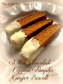 White Chocolate Dipped Pumpkin Ginger Biscotti
