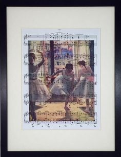 Degas, Three Dancers in a Practice Room, Sheet Music Poster, Chopin Music Print, Book Art, Dorm Room, Wall Decor, Home Staging
