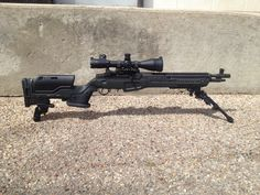 "gunrunnerhell: "" JAE A Springfield Armory SOCOM 16 with the JAE-100 Gen 3 chassis. The SOCOM 16 uses a special muzzle brake to help reduce recoil but most owners find the rifle to be a bit inaccurate..."