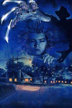 Nightmare on elm street movie film classic art print poster Freddy Krueger, Horror Icons, Horror Movie Posters, Best Movie Posters, Cinema Posters, Robert Englund, Arte Horror, Horror Art, Clown Horror