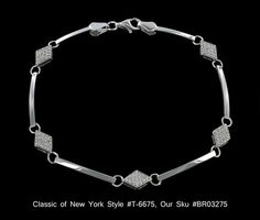Sterling Silver Pave CZ and Bar Link Tennis Bracelet Classics of NY T 6675 $87.00 | eBay http://www.ebay.com/itm/Sterling-Silver-Pave-CZ-and-Bar-Link-Tennis-Bracelet-Classics-NY-T-6675-/271083875540?pt=Fashion_Jewelry=item3f1ddbacd4