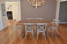 1.83M INDUSTRIAL TABLE WITH 6 CROSS-BACK CHAIRS BAYGALDS412