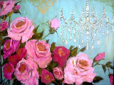 Aqua with Chandelier print by femmehesse on Etsy
