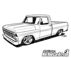 Hot Rod Car Art - 1969 Ford F100 Pickup - Truck, $65.00 (http://www.hotrodcarart.com/1969-ford-f100-pickup-truck/)