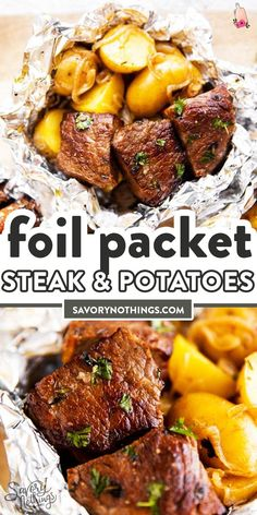 These Garlic Butter Steak and Potato Foil Packets are an easy family dinner recipe for summer. Cook them on the grill/campfire or in the oven – just add a vegetable or salad and your dinner will be re Foil Packet Dinners, Foil Pack Meals, Foil Meals For Camping, Foil Packet Recipes, Easy Summer Dinners, Easy Family Dinners, Summer Grilling Recipes, Easy Dinner Recipes, Easy Grill Recipes