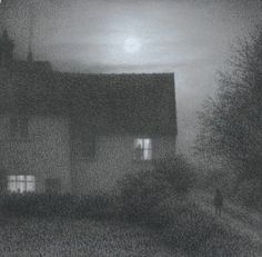 Silent Approach - Steven Outram British Mixed Media, 7 x 7 inches Nocturne, Dark Art, Painting & Drawing, Surrealism, Art Drawings, Art Photography, Art Gallery, Illustration Art, Fine Art