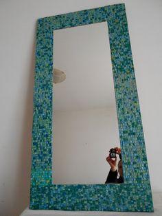 Specchio Da Parete Rettangolare Con Cornice In Mosaico