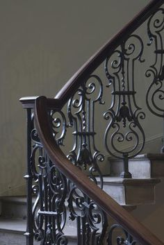 Photo: Detail of Staircase at Platt Hall, Manchester, England, UK by David Barbour : Staircase Railing Design, Wrought Iron Stair Railing, Spiral Staircase, Staircases, Steel Stairs, Staircase Remodel, Iron Decor, Door Design, Home Deco