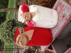 Painted mason jars  Warm White and Lipstick Red