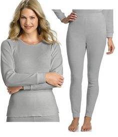 Hanes Everyday Women's Thermal Set (Long Sleeve Crew and Long ...