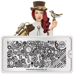 This stamping plate has an incredible design of clock gears along with a heart, key, stars, and lock to create a lovely finish for your stamped nails.