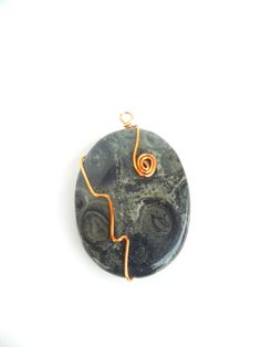 Green Kambaba Pendant Copper Wire Wrapped by daisyTdesigns