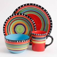 Gibson Elite Pueblo Springs 16-Piece Dinnerware set Multicolor New #GibsonElite : fiesta 16 pc dinnerware set - pezcame.com