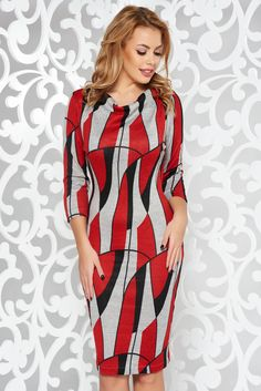StarShinerS red daily dress knitted fabric with tented cut with 3/4 sleeves, tented cut, without clothing, 3/4 sleeves, elastic fabric, soft fabric, knitted fabric