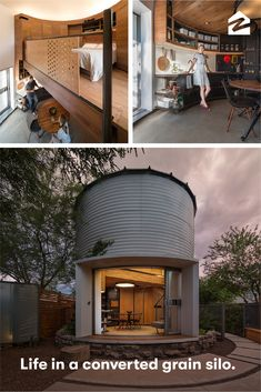 Saying 'I Do' to a Tiny Grain Silo Home This grain silo design may be unconventional, but the minimalist living ideas are genius. Silo House, Grain Silo, Wood Grain, Unusual Homes, Backyard, Patio, Tiny House Living, Living Room, Cozy Living