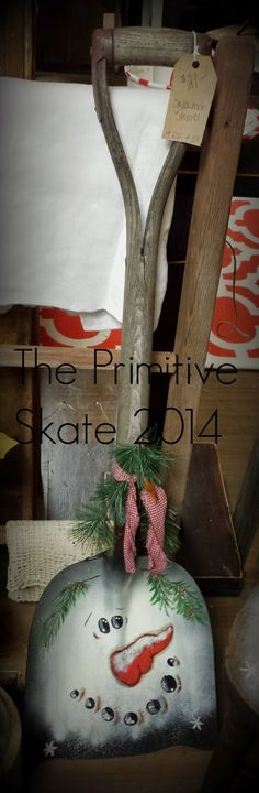 The Primitive Skate: Painting up some Snowmen - Snow Shovel - Ideas of Snow Shovel Christmas Signs, Christmas Snowman, Winter Christmas, All Things Christmas, Christmas Holidays, Christmas Decorations, Christmas Ornaments, Primitive Crafts, Primitive Christmas