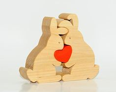 Wooden Puzzle Love Rabbits With Heart