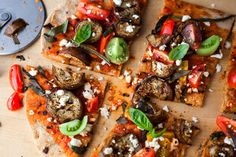 Pizza With Grilled Eggplant and Cherry Tomatoes