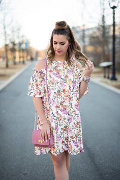 floral brights, pink floral dress, floral dress, pink purse, pink heels, pink lipstick, electric pink floral dress, white floral dress, cold shoulder floral dress, what to wear in the spring, spring fashion, spring outfit ideas, spring outfit inspo, here's the skinny blog, charlotte fashion blogger