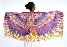 This wings and bird feathers shawl scarf features:  Hand-painted and digitally printed Art of Wide - Spread Wings.