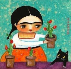 FRIDA KAHLO with cactus plants and black cat PRINT from painting by tascha via Etsy