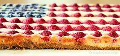 Vegan American Flag Berry Tart with Almond Cheesecake