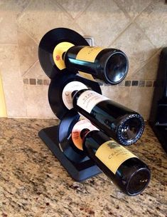 repurposed record wine rack - Google Search