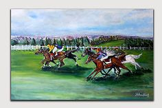 Original Oil and Acrylic Painting. 100% hand-painted by the artist. HORSE RACING