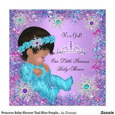 Princess Baby Shower Teal Blue Purple Pink Ethnic Invitation