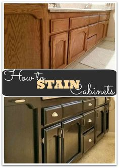 How to Stain Cabinets with gel stain, for an easy cabinet makeover! Home Improvement Projects, Home Projects, Kitchen Redo, Kitchen Design, Kitchen Ideas, Kitchen Interior, Home Renovation, Home Remodeling, Kitchen Remodeling