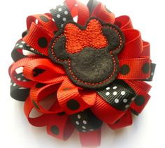 Black and Red Minnie Mouse - Boutique Style Loopy Ribbon Flower Hair Clip - Disney Loopy Hair Bow - Hand Sewn