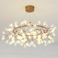 Indoor Accent Lighting Rose Gold Branch LED Chandelier Metal Ring Heracleum II LED Pendant Light with Adjustable Cord Fashion Style Modern Lighting