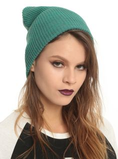 Cover your dome anytime of year with this simple teal and grey beanie.