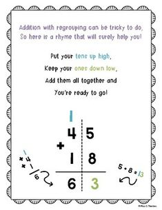 Addition With Regrouping Poster FREEBIE! This poster centers on a rhyme meant to help children remember what to do when they need to regroup their ones in addition. This poster can be printed out and hung up in your classroom, or sent home with children to assist them with homework. ENJOY! Tha... First Grade Math Worksheets, 2nd Grade Math, Grade 2, Elementary Math, Kindergarten Math, Basic Math, Math Resources, Anchor Charts