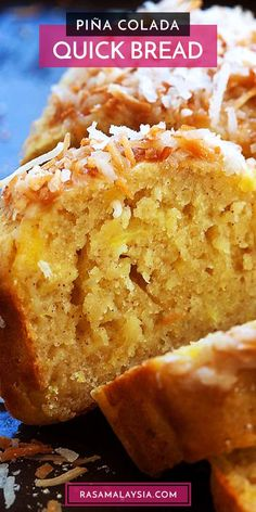 This quick bread recipe is made with sweet crushed pineapple and toasted coconut, making it taste like a Pina Colada cocktail. When you make this Pina Colada bread, you'll be taking a trip to the tropics without leaving your kitchen! Quick Bread Recipes, Easy Delicious Recipes, Delicious Desserts, Yummy Food, Pineapple Bread, Crushed Pineapple, Just Desserts, Dessert Recipes, Sweet Desserts