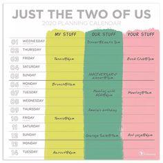 2020 Just the Two of Us - Couples Planning Large Grid Wall Calendar Online Calendar, Desktop Calendar, Desk Calendars, Simple Optical Illusions, Planning Calendar, Daily Planning, Event Planning Template, Calendar Journal, Dry Erase Calendar