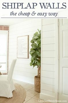 DIY: How to Install Shiplap Walls + How to Cut the Planks and Trim - this is an inexpensive wall treatment and a great fix for damaged walls - via Little Red Brick House