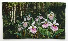 Wild Orchid by Jo Wood - beaded Bead Embroidery Patterns, Felt Embroidery, Jo Wood, Cross Stitch Landscape, Floral Drawing, Sewing Leather, Beaded Animals, Felt Art, Beaded Flowers