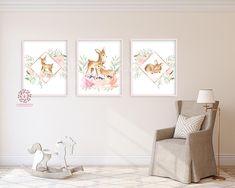 3 Boho Deer Wall Art Print Blush Fawn Woodland Nursery Baby Girl Room Floral Bohemian Watercolor Set Prints Printable Decor
