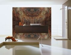 Phenomenal fusion, book-matched granite with floating lav.