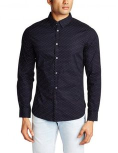 French Connection soft tailored design, slim fit, long sleeve shirt with Concealed button collar.