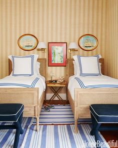 blue and white striped rugs in a boys' wonderful bedroom in the Bahamas by Amanda Lindroth - for House Beautiful. Photo: Thomas Loof - Fabulous twin Harbour Cane beds by Serena and Lily