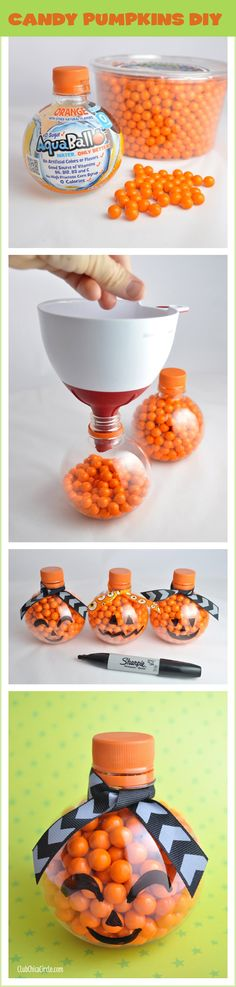 Candy Pumpkins DIY @clubchicacircle - super easy craft and gift idea. Would make a great classroom or teacher gift